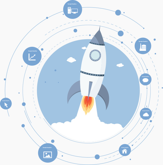 Rocket ship and system graphics